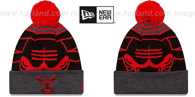179cc386830 Bulls  LOGO WHIZ  Black-Charcoal Knit Beanie Hat by New Era
