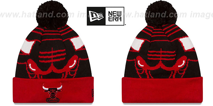 Bulls 'LOGO WHIZ' Black-Red Knit Beanie Hat by New Era : pictured without stickers that these products are shipped with