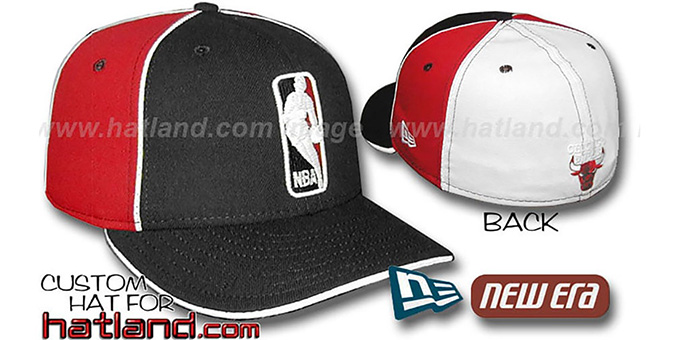 Bulls 'LOGOMAN-2' Black-Red-White Fitted Hat by New Era : pictured without stickers that these products are shipped with
