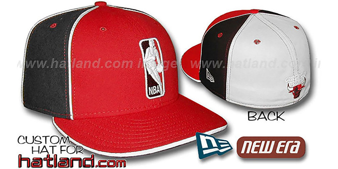 Bulls 'LOGOMAN-2' Red-Black-White Fitted Hat by New Era : pictured without stickers that these products are shipped with