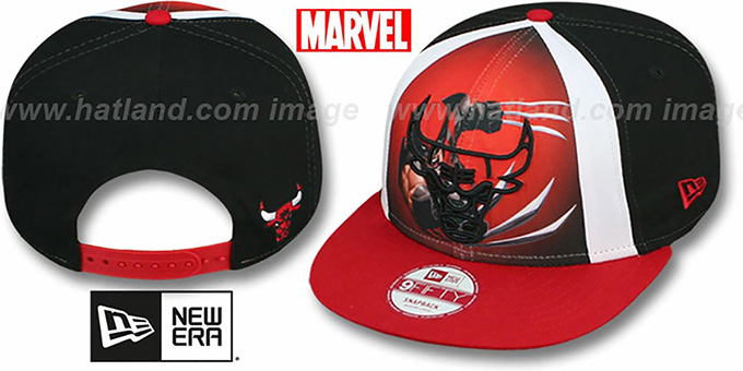 Bulls 'MARVEL RETRO-SLICE SNAPBACK' Black-Red Hat by New Era : pictured without stickers that these products are shipped with