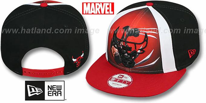 b6f7c9b790c Bulls  MARVEL RETRO-SLICE SNAPBACK  Black-Red Hat by New Era