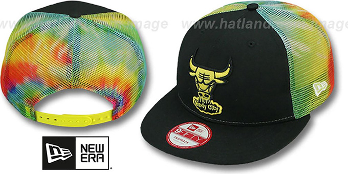 Bulls 'MESH TYE-DYE SNAPBACK' Hat by New Era : pictured without stickers that these products are shipped with