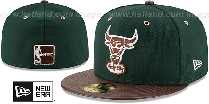 Bulls 'METAL HOOK' Green-Brown Fitted Hat by New Era : pictured without stickers that these products are shipped with