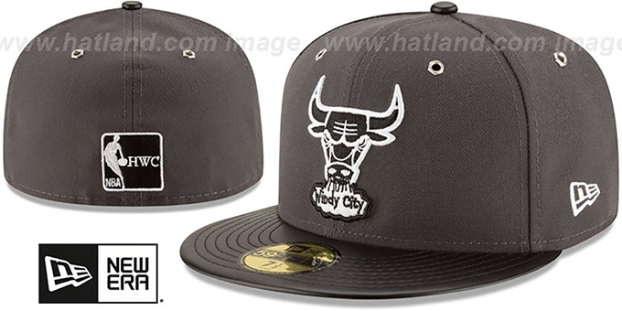 Bulls 'METAL HOOK' Grey-Black Fitted Hat by New Era : pictured without stickers that these products are shipped with