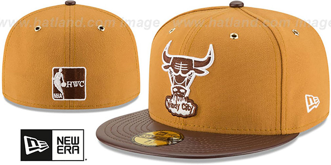 Bulls 'METAL HOOK' Wheat-Brown Fitted Hat by New Era : pictured without stickers that these products are shipped with