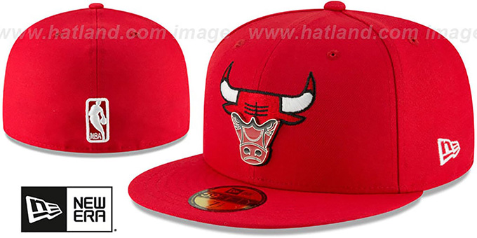 b23eef3a Chicago Bulls METAL-N-THREAD Red Fitted Hat by New Era