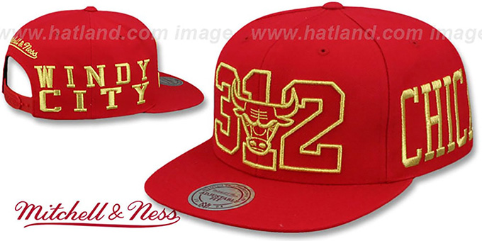 c011f5ea18c83 Bulls  METALLIC AREA-CODE SNAPBACK  Red Hat by Mitchell and Ness
