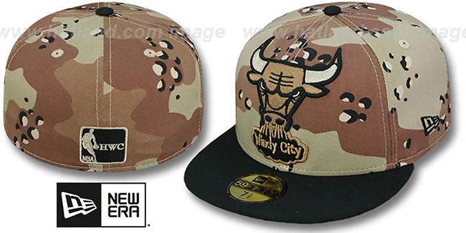 Bulls 'MIGHTY-XL' Desert Storm Camo Fitted Hat by New Era : pictured without stickers that these products are shipped with