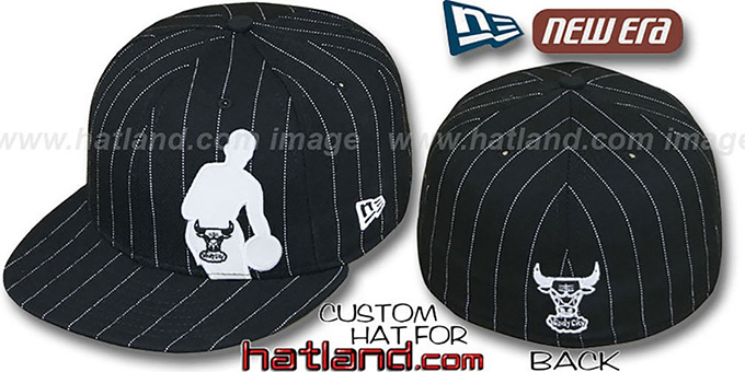 bulls nba silhouette pinstripe blackwhite fitted hat by