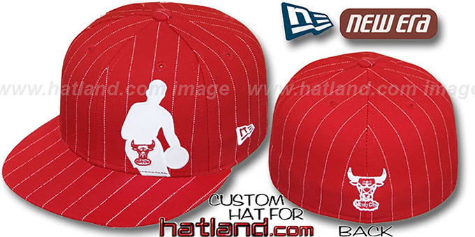 Bulls 'NBA SILHOUETTE PINSTRIPE' Red-White Fitted Hat by New Era : pictured without stickers that these products are shipped with