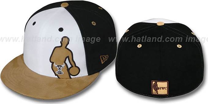 Bulls 'NBA SILHOUETTE PINWHEEL' White-Black-Tan Fitted Hat by New Era : pictured without stickers that these products are shipped with