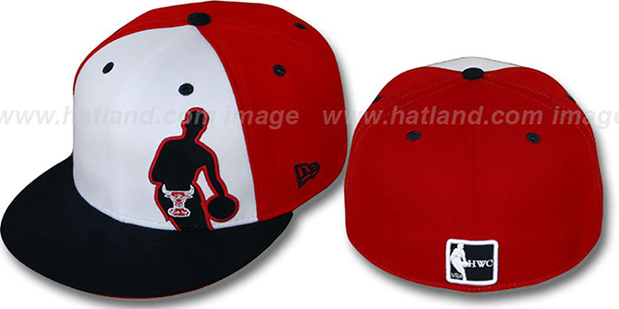 Bulls Nba Silhouette Pinwheel White Red Navy Fitted Hat By