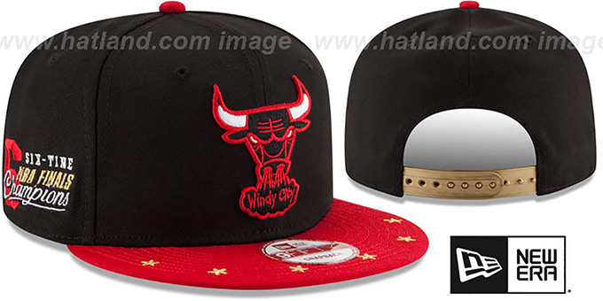 Bulls 'NBA STAR-TRIM SNAPBACK' Black-Red Hat by New Era : pictured without stickers that these products are shipped with