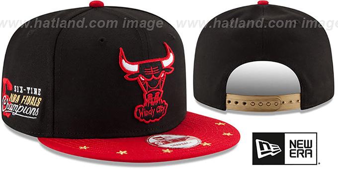 ae563f592d7 Bulls  NBA STAR-TRIM SNAPBACK  Black-Red Hat by New Era