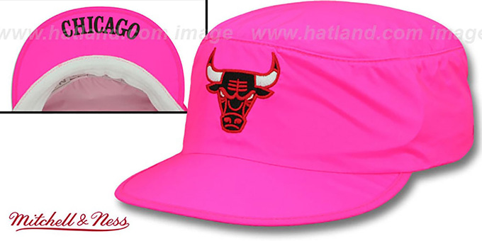 Bulls 'NEON PAINTER' Pink Hat by Mitchell and Ness : pictured without stickers that these products are shipped with