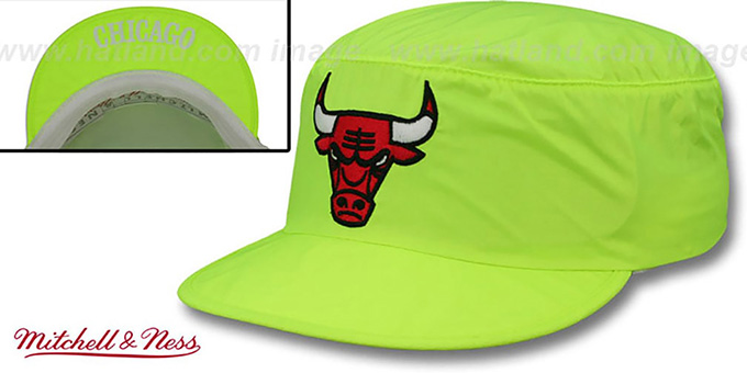 Bulls 'NEON PAINTER' Yellow Hat by Mitchell and Ness : pictured without stickers that these products are shipped with
