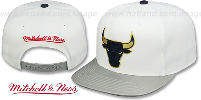 Bulls 'OLYMPIC GOLD SNAPBACK' White-Grey Hat by Mitchell and Ness : pictured without stickers that these products are shipped with
