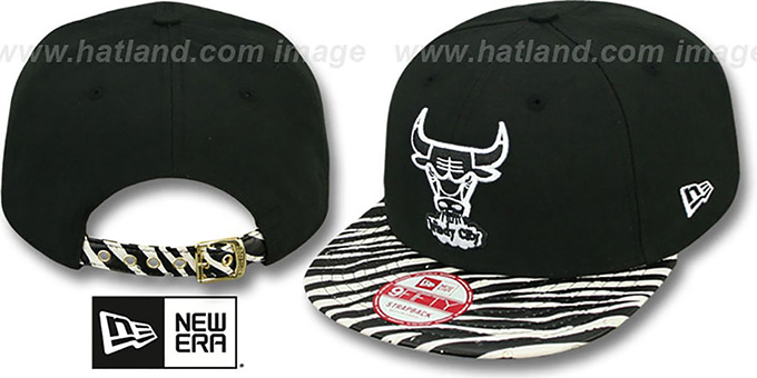 Bulls 'OSTRICH-ZEBRA STRAPBACK' Hat by New Era : pictured without stickers that these products are shipped with