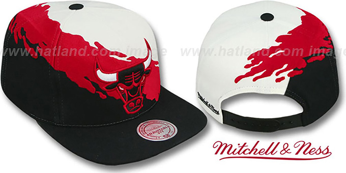Bulls 'PAINTBRUSH SNAPBACK' White-Red-Black Hat by Mitchell & Ness : pictured without stickers that these products are shipped with