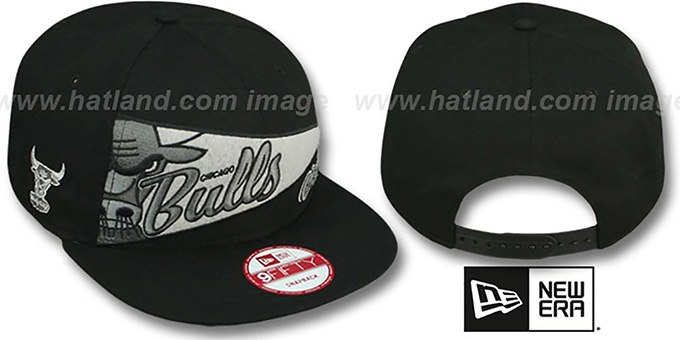 Bulls 'PENNANT SNAPBACK' Black-Grey Hat by New Era : pictured without stickers that these products are shipped with