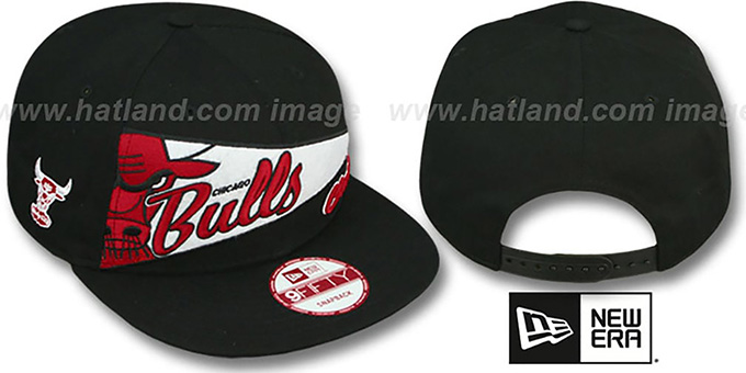 Bulls 'PENNANT SNAPBACK' Black-Red Hat by New Era : pictured without stickers that these products are shipped with