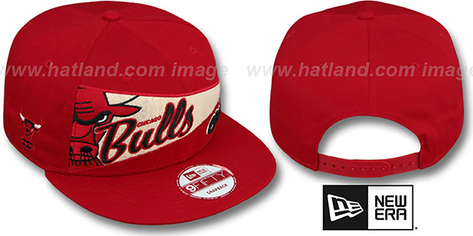 Bulls 'PENNANT SNAPBACK' Red Hat by New Era : pictured without stickers that these products are shipped with