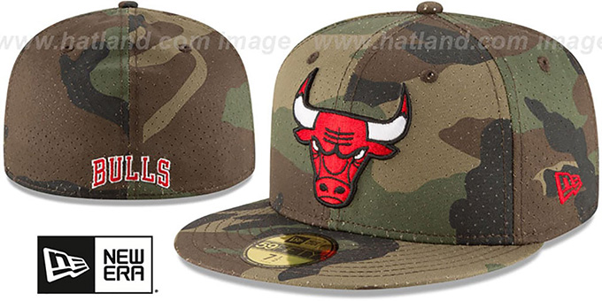 Bulls 'PERFORATED CAMO' Army Fitted Hat by New Era : pictured without stickers that these products are shipped with