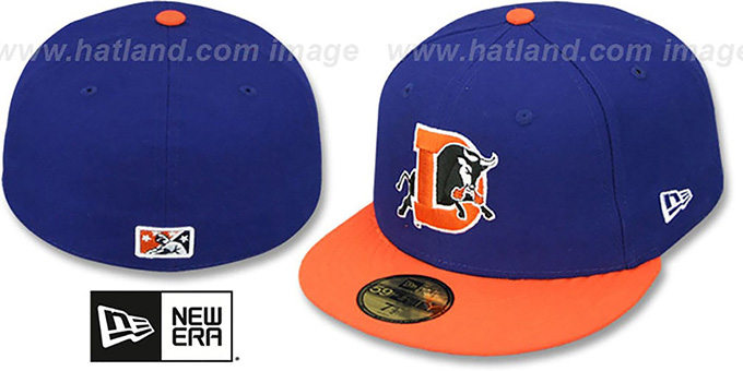Bulls 'PERFORMANCE ROAD' Royal-Orange Fitted Hat by New Era : pictured without stickers that these products are shipped with