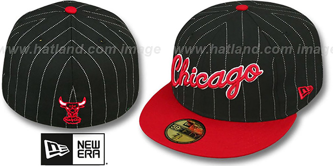 Bulls 'PIN-SCRIPT' Black-Red Fitted Hat by New Era : pictured without stickers that these products are shipped with