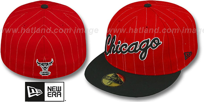 Bulls 'PIN-SCRIPT' Red-Black Fitted Hat by New Era : pictured without stickers that these products are shipped with