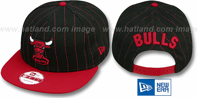 Bulls 'PINSNAP SNAPBACK' Black-Red Hat by New Era : pictured without stickers that these products are shipped with