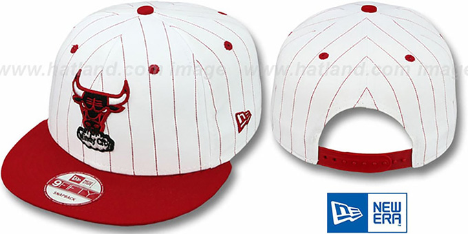 Bulls 'PINSTRIPE BITD SNAPBACK' White-Red Hat by New Era : pictured without stickers that these products are shipped with