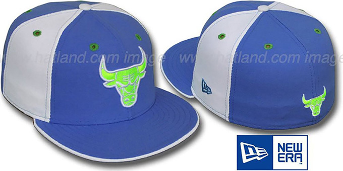 Bulls 'PINWHEEL' Lime-Sky-White Fitted Hat by New Era : pictured without stickers that these products are shipped with