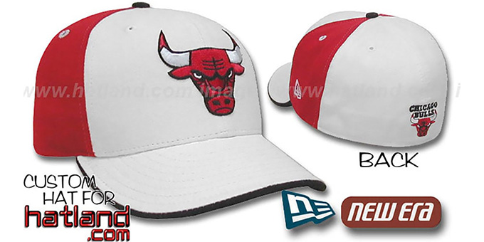Bulls 'PINWHEEL' White-Red Fitted Hat by New Era : pictured without stickers that these products are shipped with