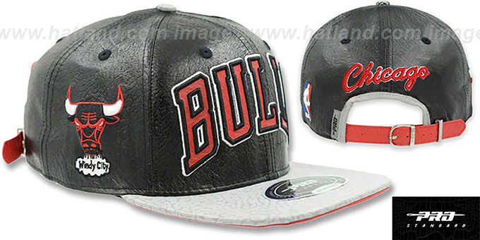 7dd8769993f Bulls  PREMIUM RETRO-ARCH STRAPBACK  Black-Grey Hat by Pro Standard