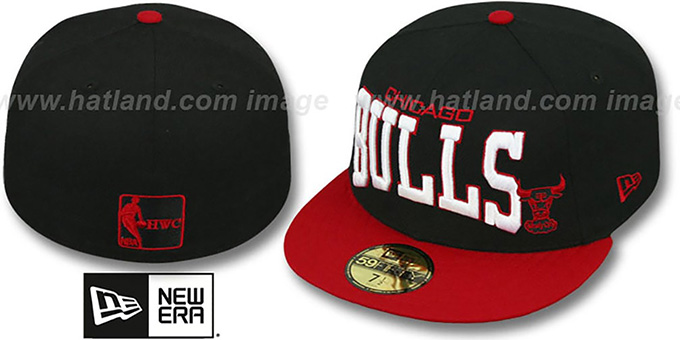 Bulls 'PRO-ARCH' Black-Red Fitted Hat by New Era : pictured without stickers that these products are shipped with