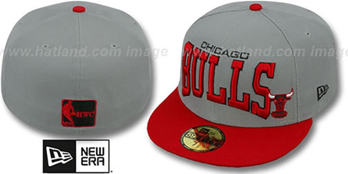 Bulls 'PRO-ARCH' Grey-Red Fitted Hat by New Era : pictured without stickers that these products are shipped with