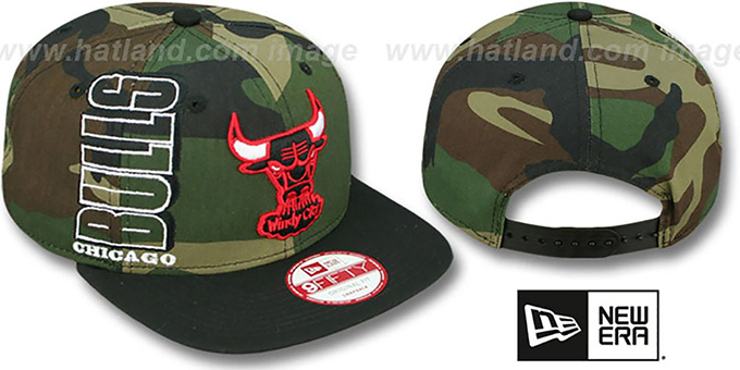 Bulls 'RALLYMARK SNAPBACK' Army-Black Hat by New Era : pictured without stickers that these products are shipped with