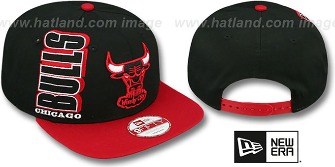 Bulls 'RALLYMARK SNAPBACK' Black-Red Hat by New Era : pictured without stickers that these products are shipped with