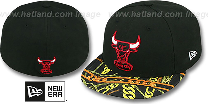 Bulls 'REAL CHAINS VIZA-PRINT' Black Fitted Hat by New Era : pictured without stickers that these products are shipped with