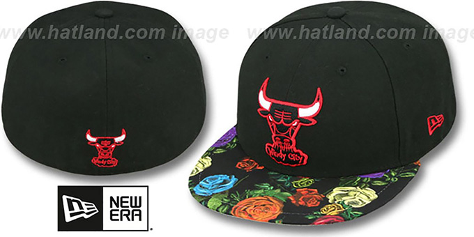 Bulls 'REAL FLORAL VIZA-PRINT' Black Fitted Hat by New Era : pictured without stickers that these products are shipped with