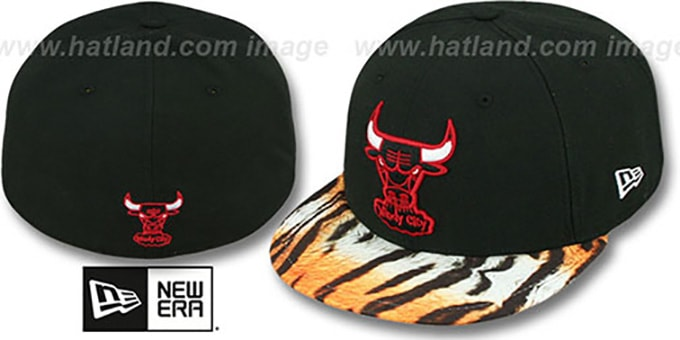 Bulls 'REAL TIGER VIZA-PRINT' Black Fitted Hat by New Era : pictured without stickers that these products are shipped with