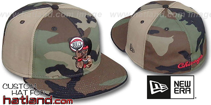 Bulls RETROMAN CAMO 'PINWHEEL' Woodland-Tan Fitted Hat : pictured without stickers that these products are shipped with