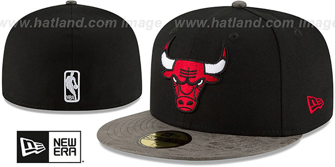 Bulls 'RUSTIC-VIZE' Black-Grey Fitted Hat by New Era : pictured without stickers that these products are shipped with