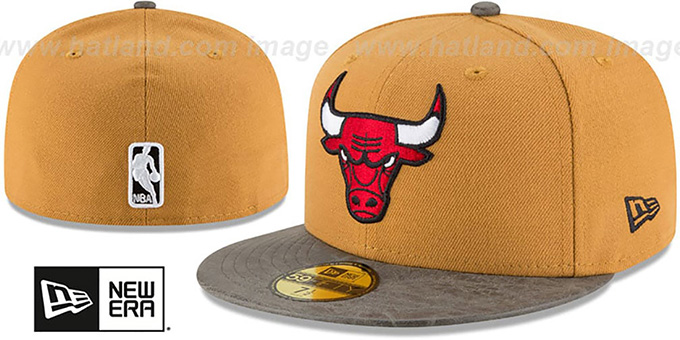 Bulls 'RUSTIC-VIZE' Wheat-Grey Fitted Hat by New Era : pictured without stickers that these products are shipped with