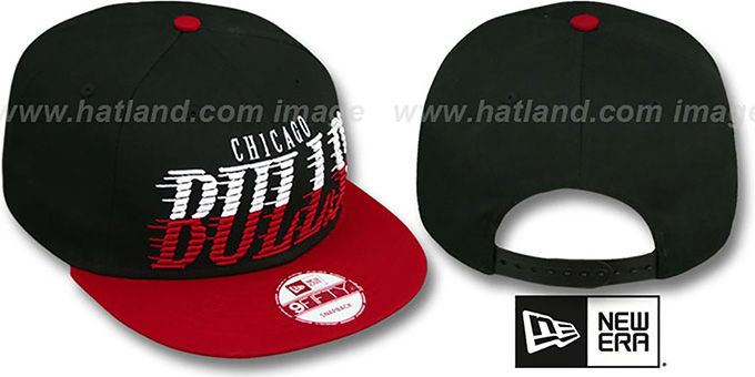 Bulls 'SAILTIP SNAPBACK' Black-Red Hat by New Era : pictured without stickers that these products are shipped with