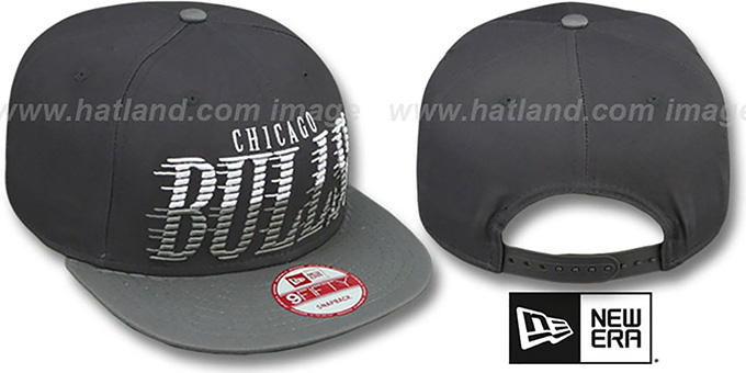Bulls 'SAILTIP SNAPBACK' Charcoal-Grey Hat by New Era : pictured without stickers that these products are shipped with