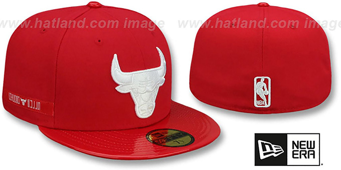 Bulls 'SCARLET HOOK' Red Fitted Hat by New Era : pictured without stickers that these products are shipped with