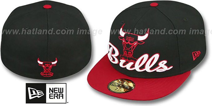 Bulls 'SCRIPT-PUNCH' Black-Red Fitted Hat by New Era : pictured without stickers that these products are shipped with